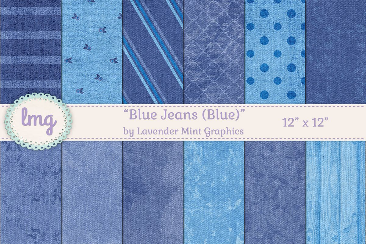 Blue Jeans Digital Scrapbooking Papers example image 1