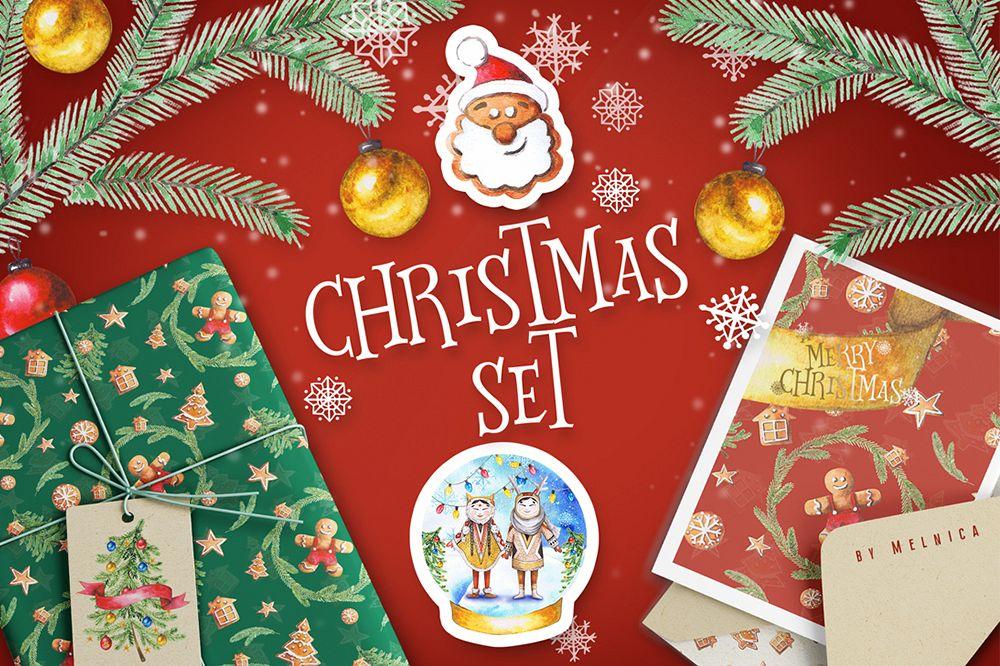 Christmas Watercolor Set example image 1