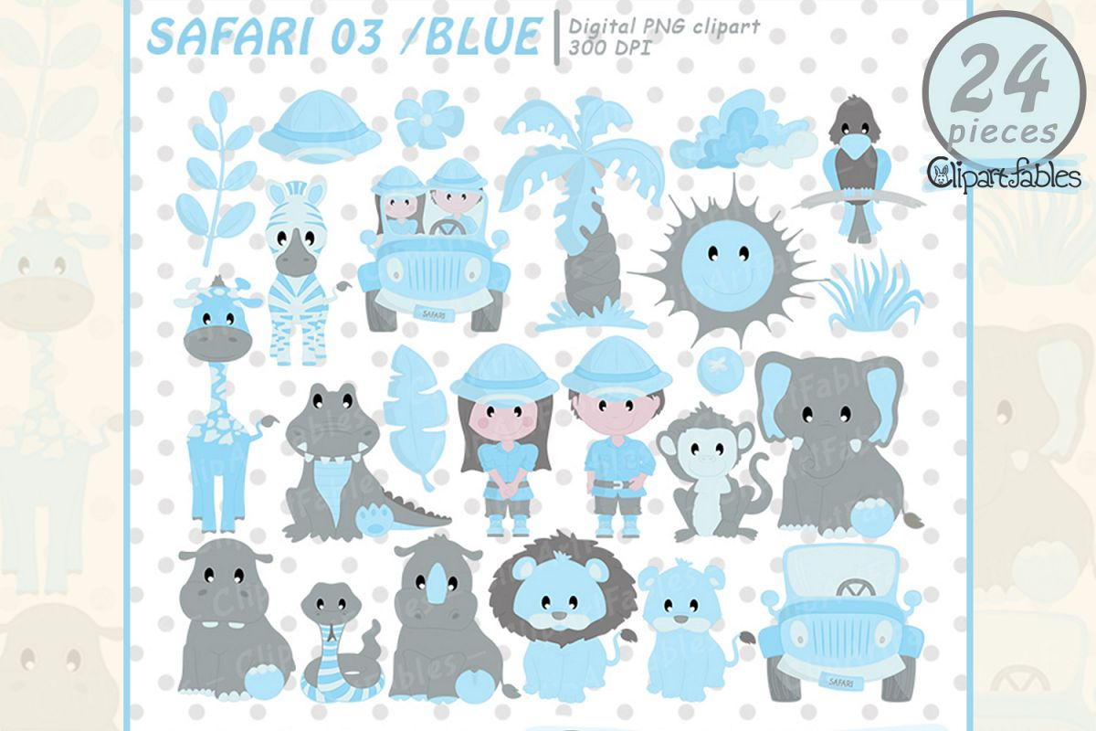 Blue safari clipart, Baby boy shower party for Baby Boys example image 1