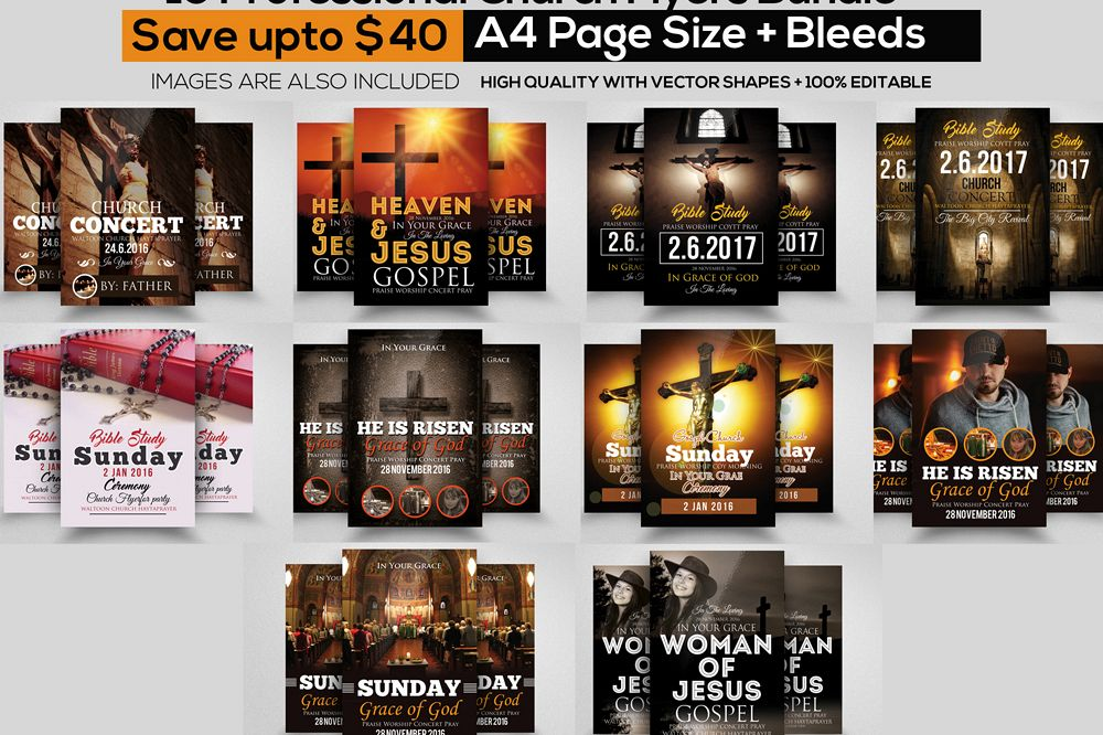 10 Glory and Praise Church Flyer Template Bundle example image 1