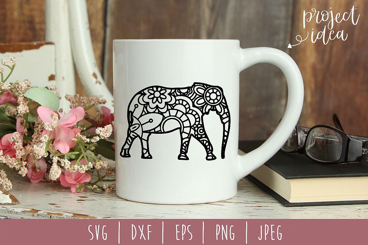 Elephant Mandala Zentangle SVG, DXF, EPS, PNG, JPEG example image 1