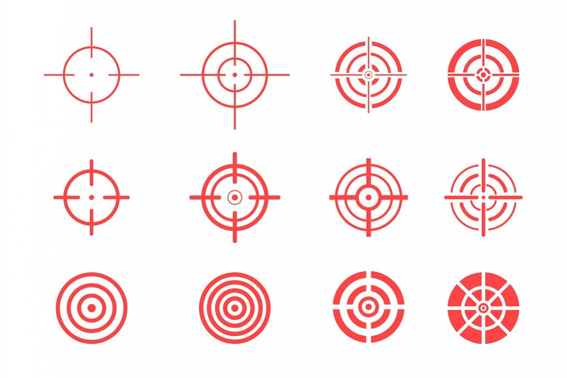 Collection of red target icons. example image 1