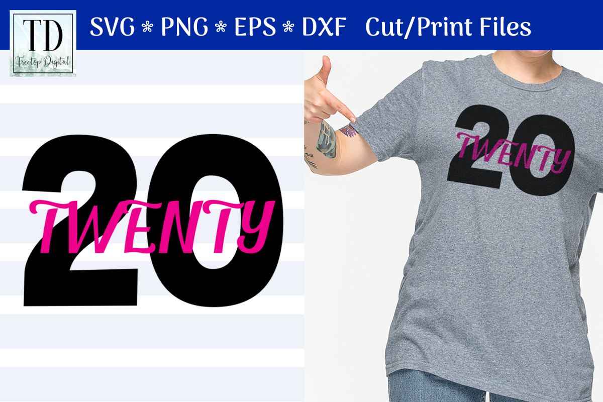 2020, A 20 Twenty New Year SVG Cut or Print File example image 1
