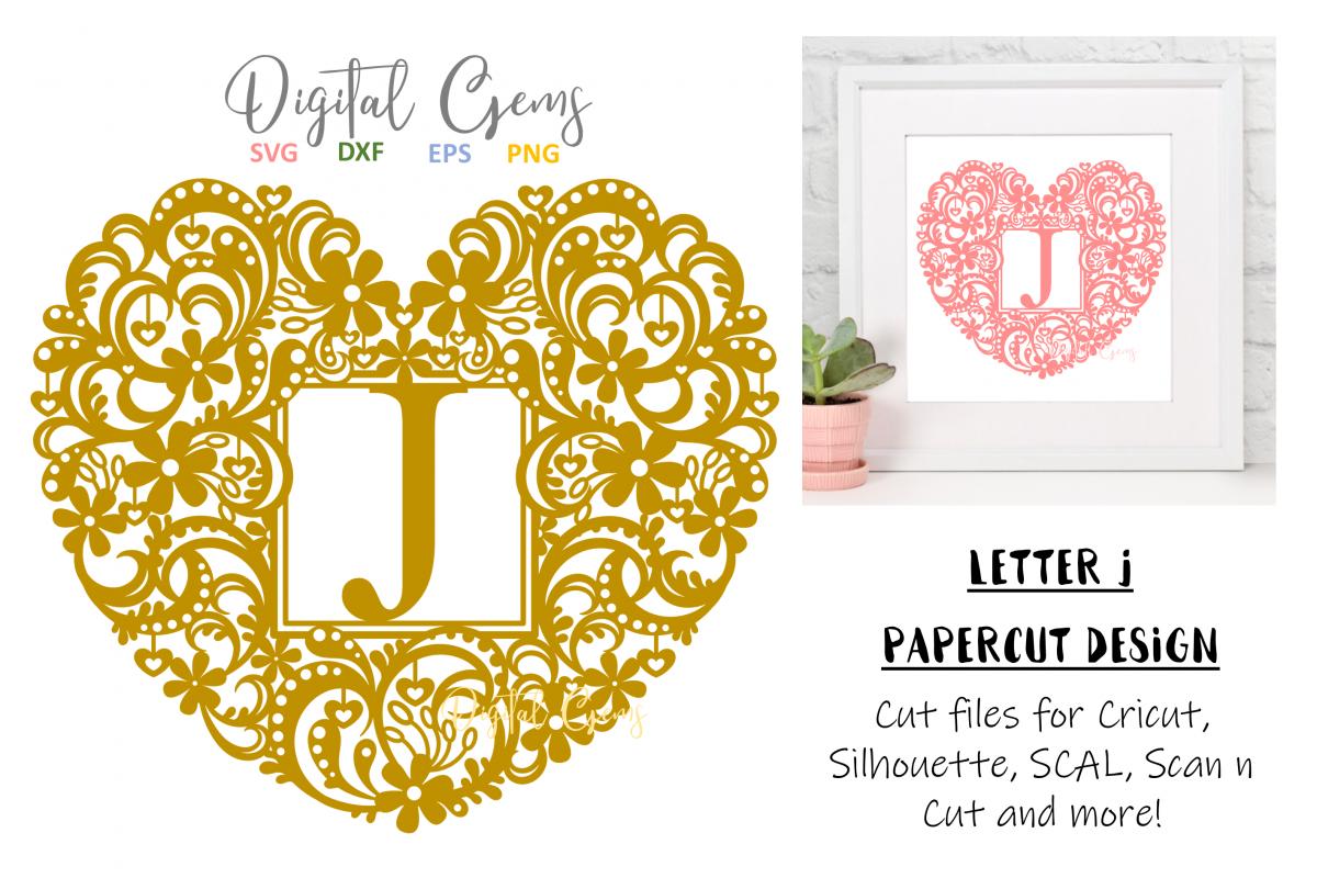 Letter J paper cut design. SVG / DXF / EPS / PNG files example image 1