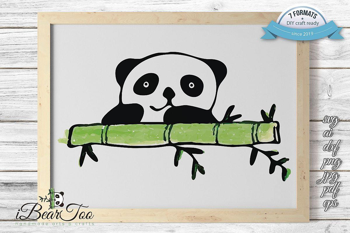 Panda SVG Watercolor Clipart Bear Drawing Vector Cut File example image 1