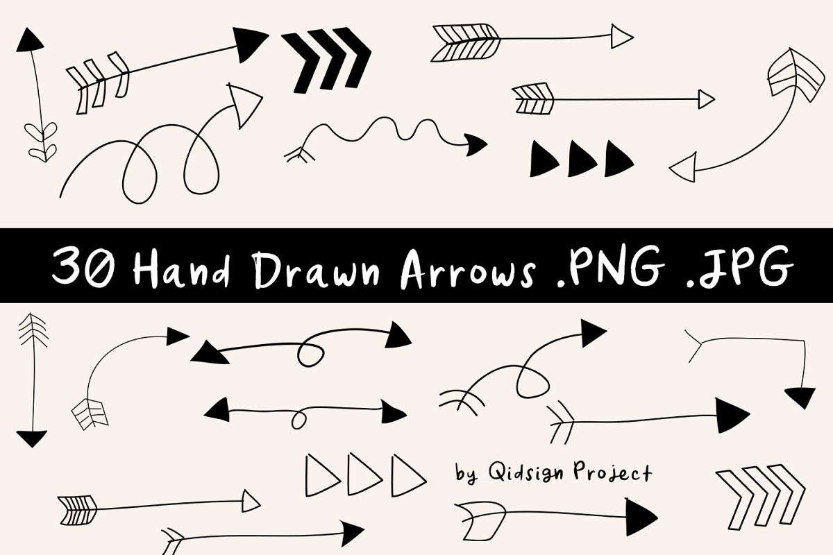 Hand Drawn Arrows Clipart .PNG .JPG example image 1