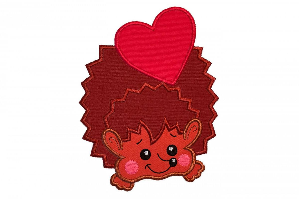 Hedgehog with heart machine embroidery applique design