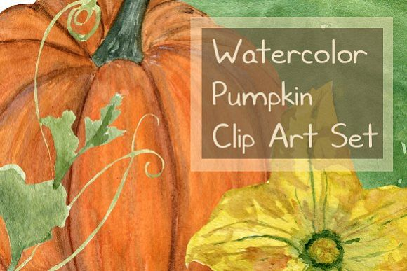 15 Watercolor Pumpkin Clip Art Set example image 1