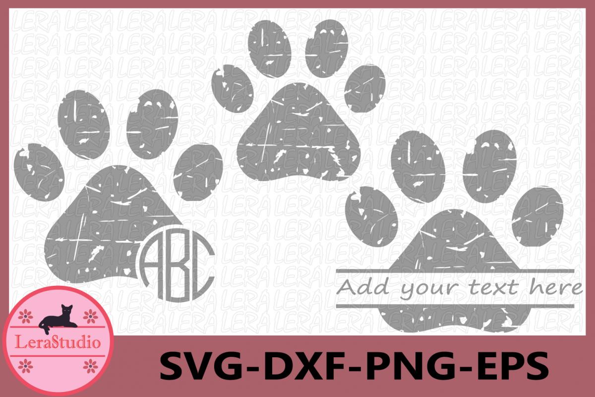 Paw Grunge SVG, Paw Monogram svg, Animals Distressed svg example image 1