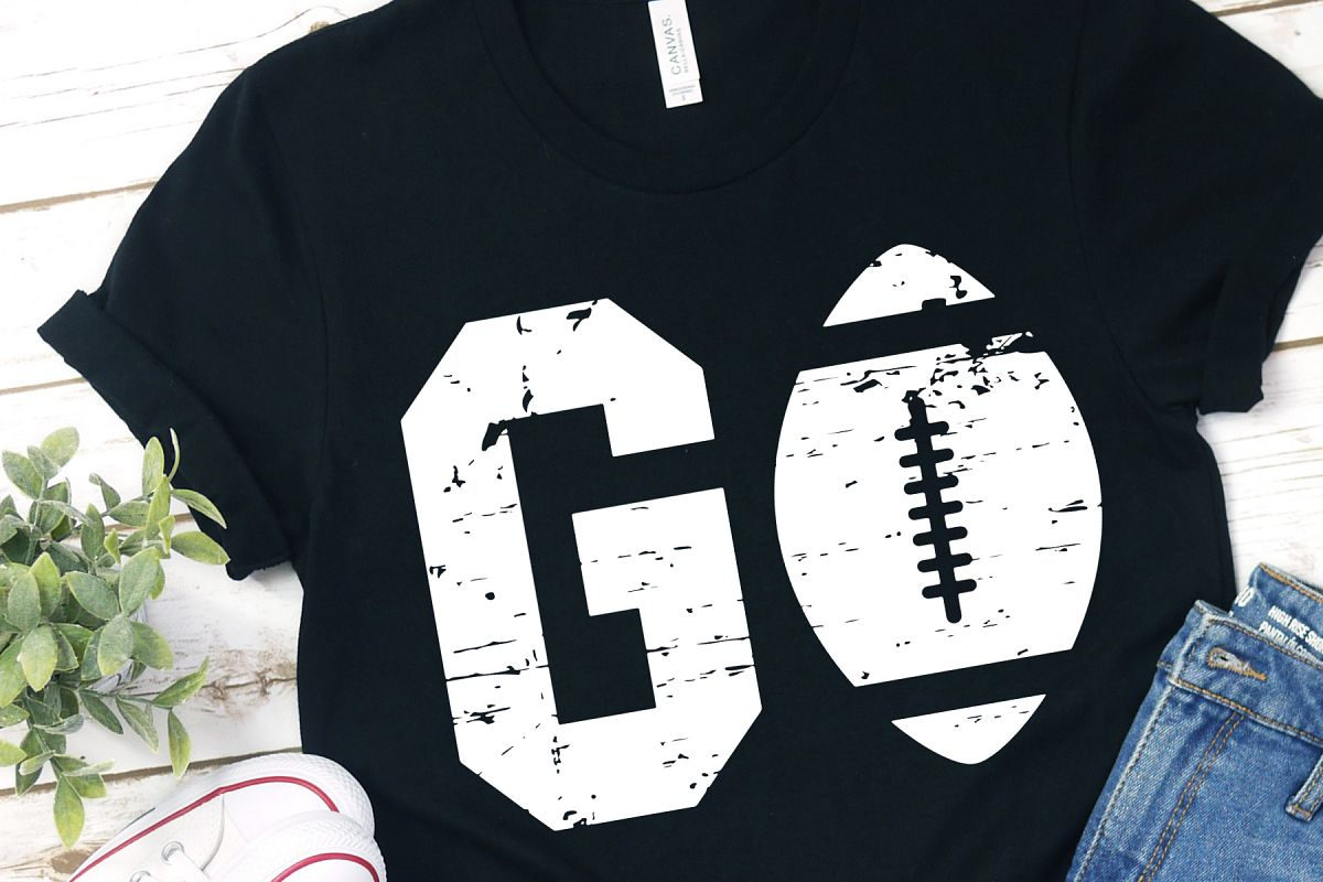 Grunge Distressed Go American Football SVG Bundle example image 1