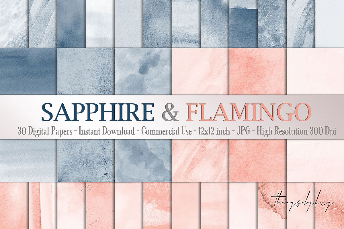 30 Ombre Sapphire & Flamingo Watercolor Digital Papers example image 1