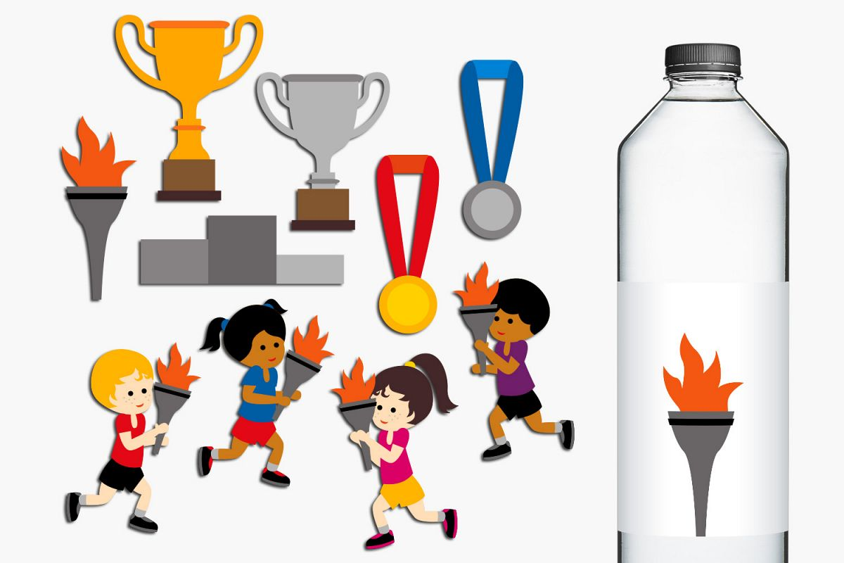 Summer sport running marathon torch clip art graphics example image 1