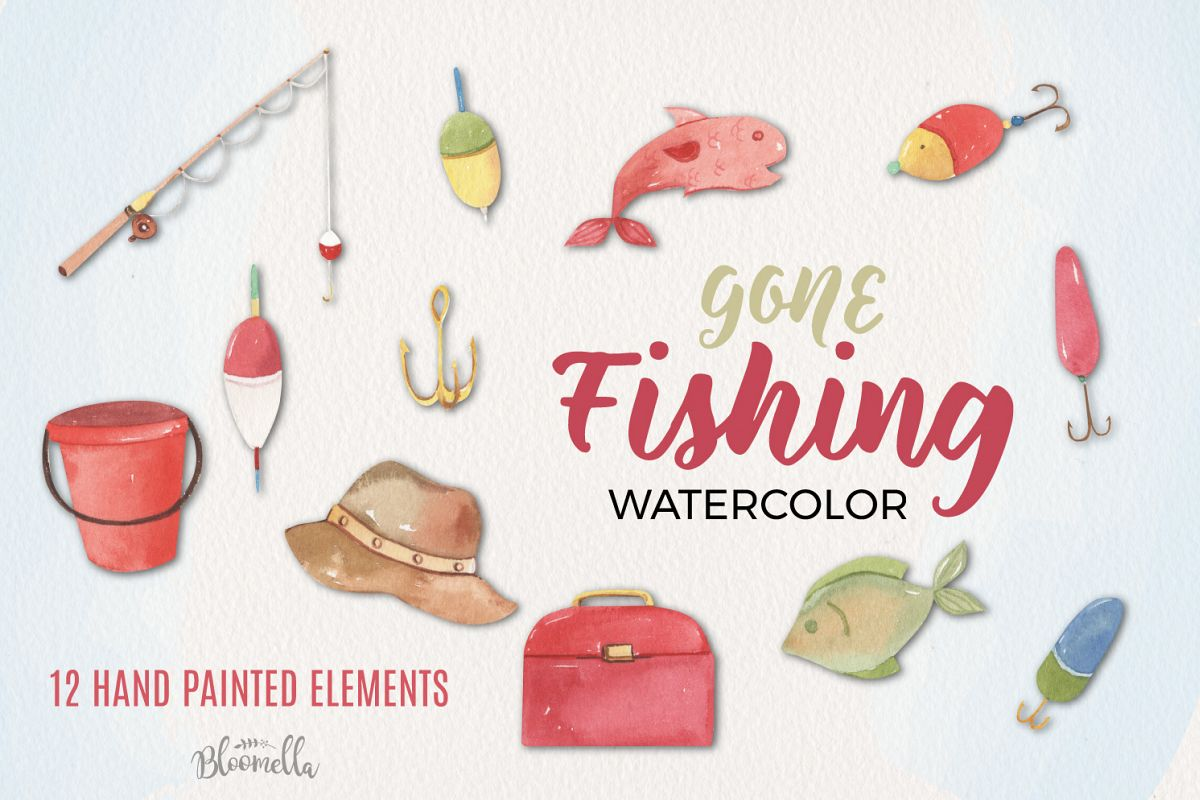 Gone Fishing Watercolor Elements example image 1