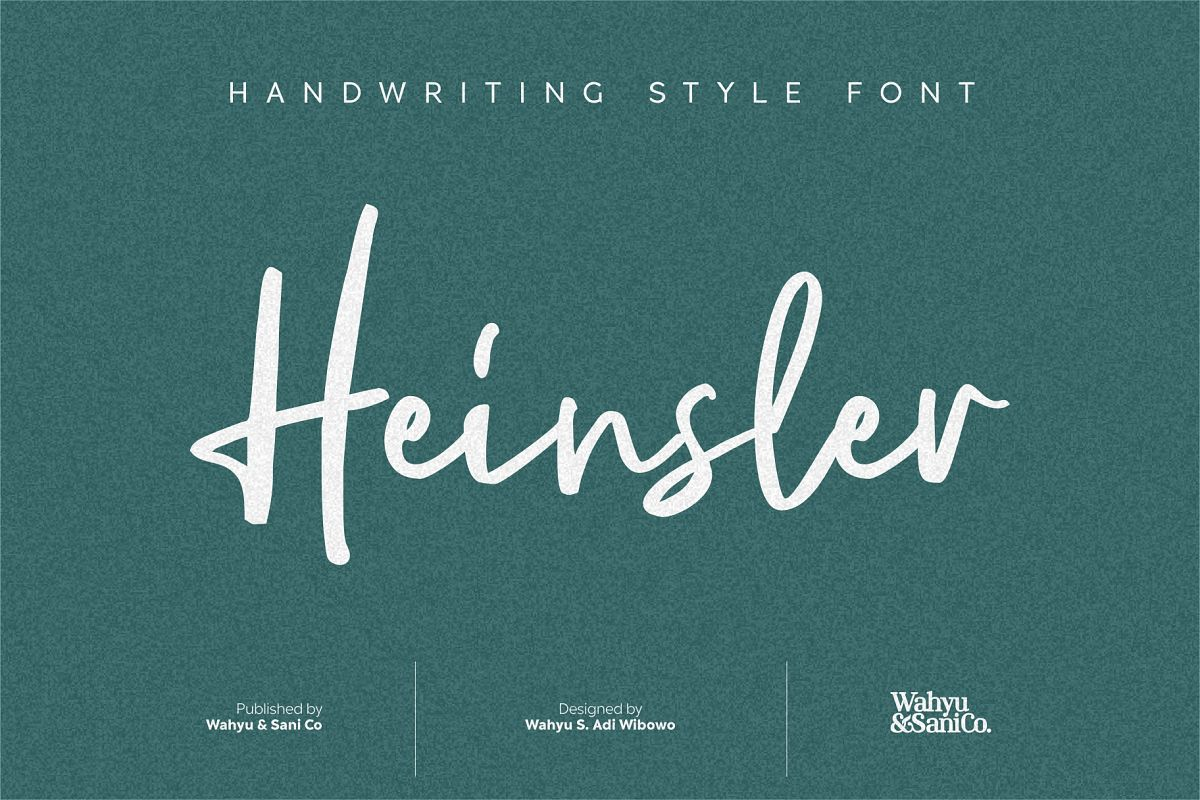 Heinsler | Handwriting Style Font example image 1