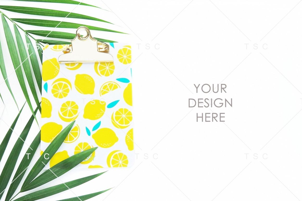 Lemon Paper Clipboard and Palm Leaves Stock Photo example image 1