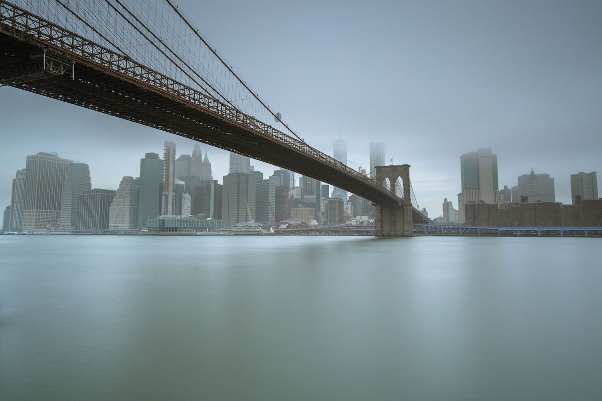 Financial District and Brooklyn bridge from East River example image 1