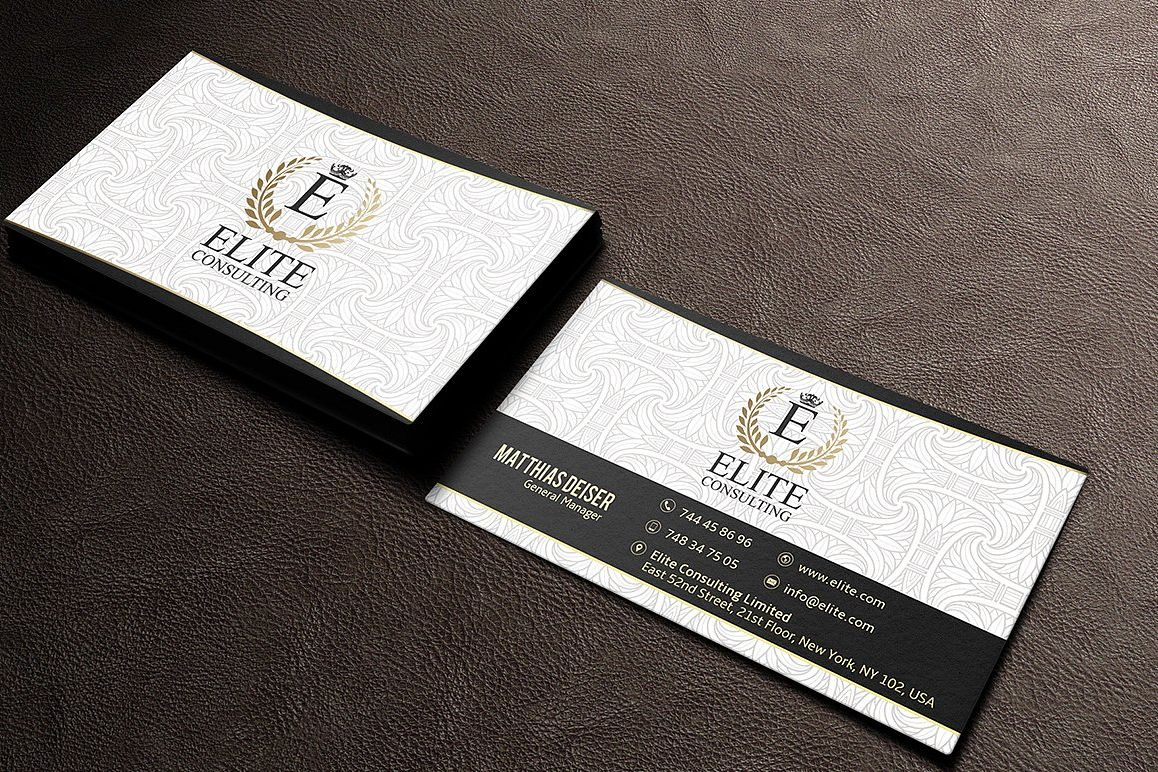 Gold And White Business Card example image 1