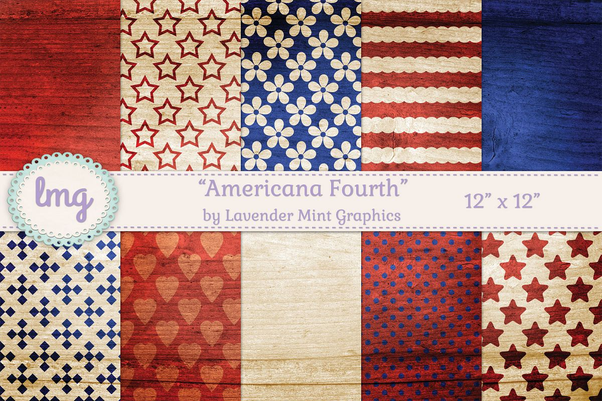 Americana Fourth Digital Scrapbooking Papers-July 4 example image 1