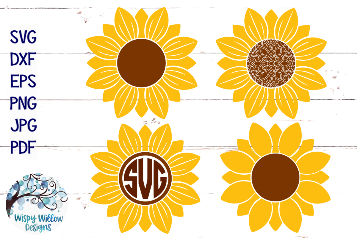 Sunflower SVG Set | Monogram | Mandala | Fall SVG Cut File example image 1
