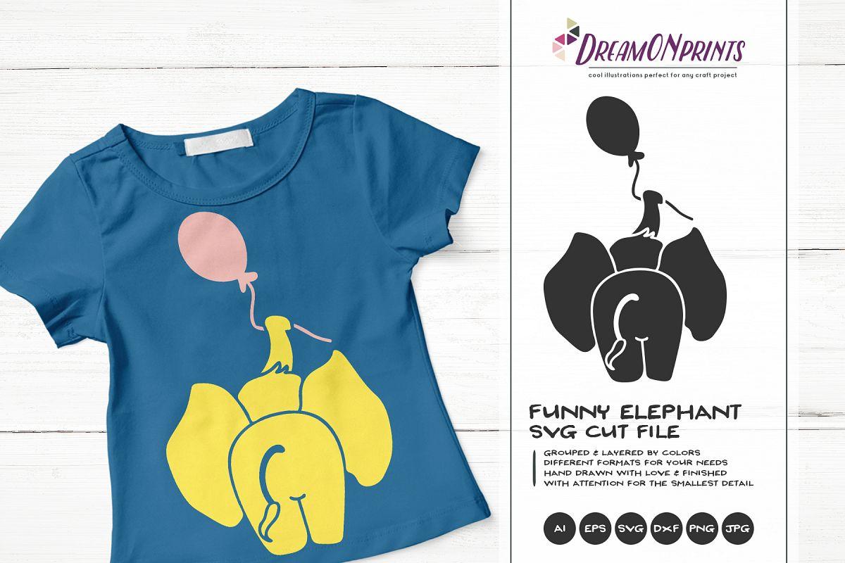 Elephant SVG Cut File - Funny Elephant Illustration example image 1