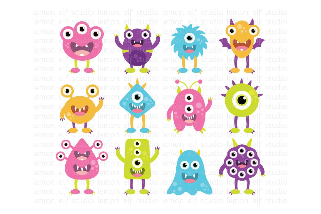 Silly Monsters-Digital Clipart (LES.CL03B) example image 1