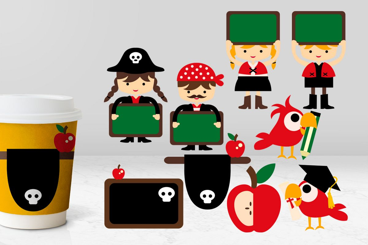 Back to school classroom. Pirate clipart graphics