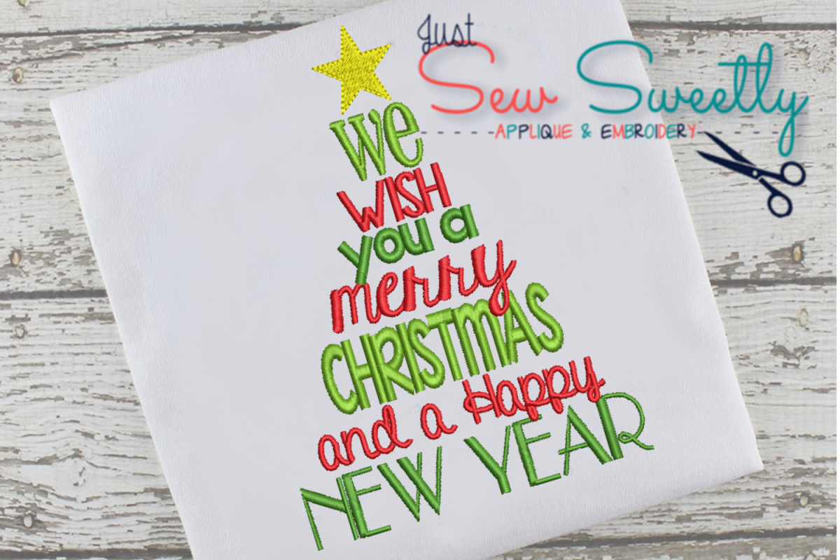 Christmas Subway Word Art Applique Embroidery Design example image 1