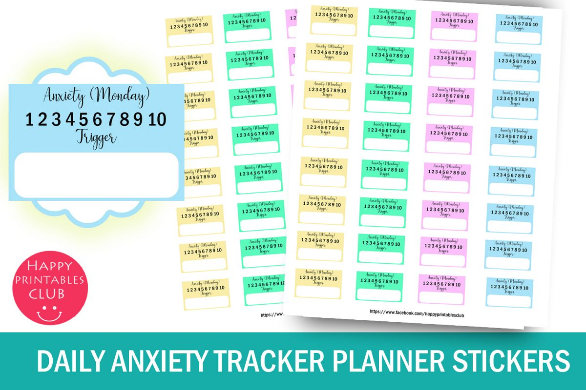 Daily Anxiety Tracker Planner Stickers- Anxiety Mood Tracker example image 1
