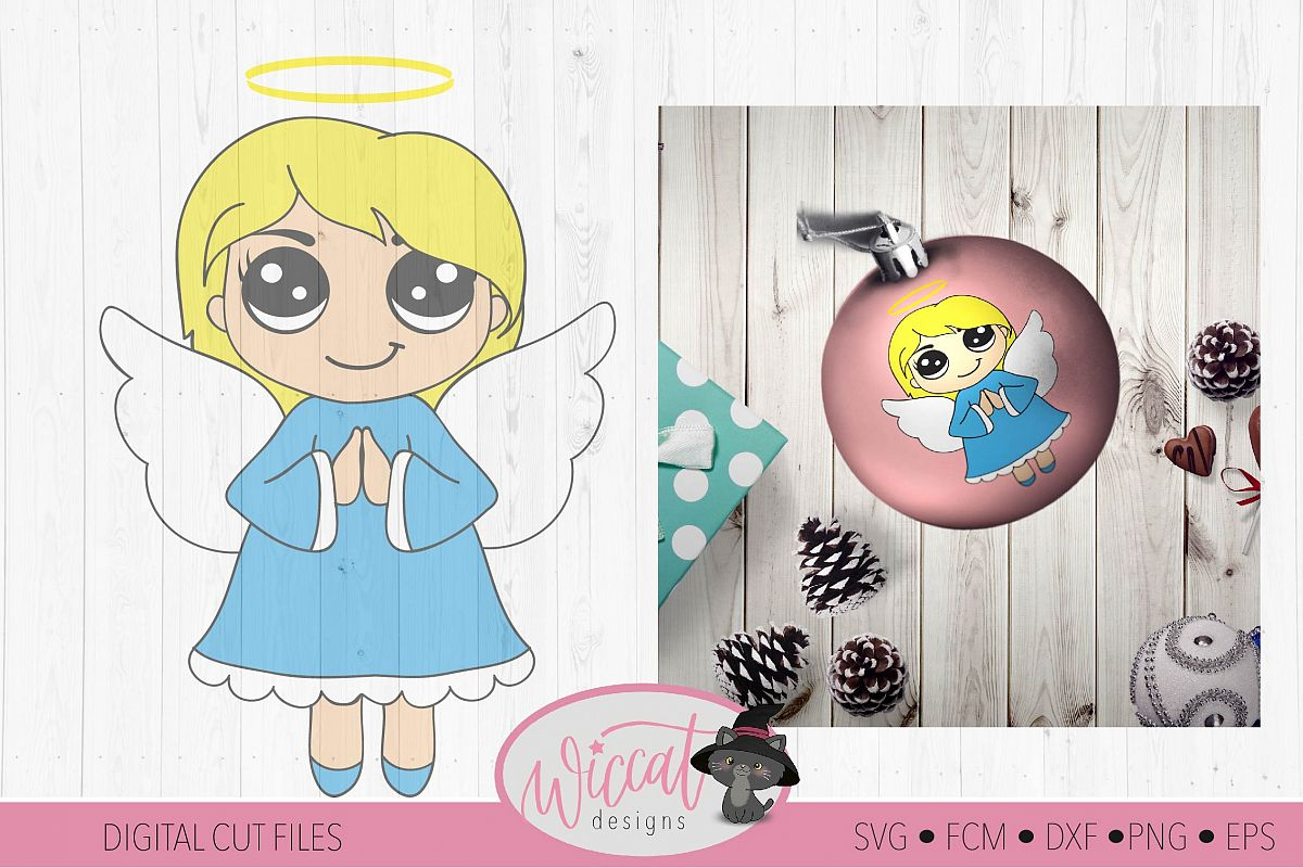 Praying Christmas angel, Kawaii angel, Cute angel girl, example image 1