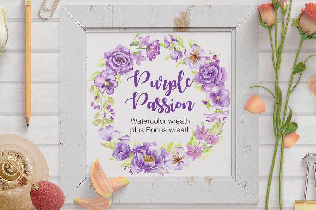 'Purple Passion': Watercolor wreath of purple flowers example image 1