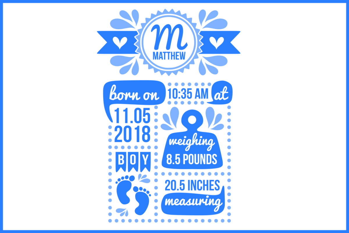 birth stats svg birth stats template baby stats svg file