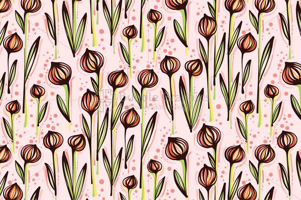 Ball Flower Plants - Creative Seamless Floral Background example image 1