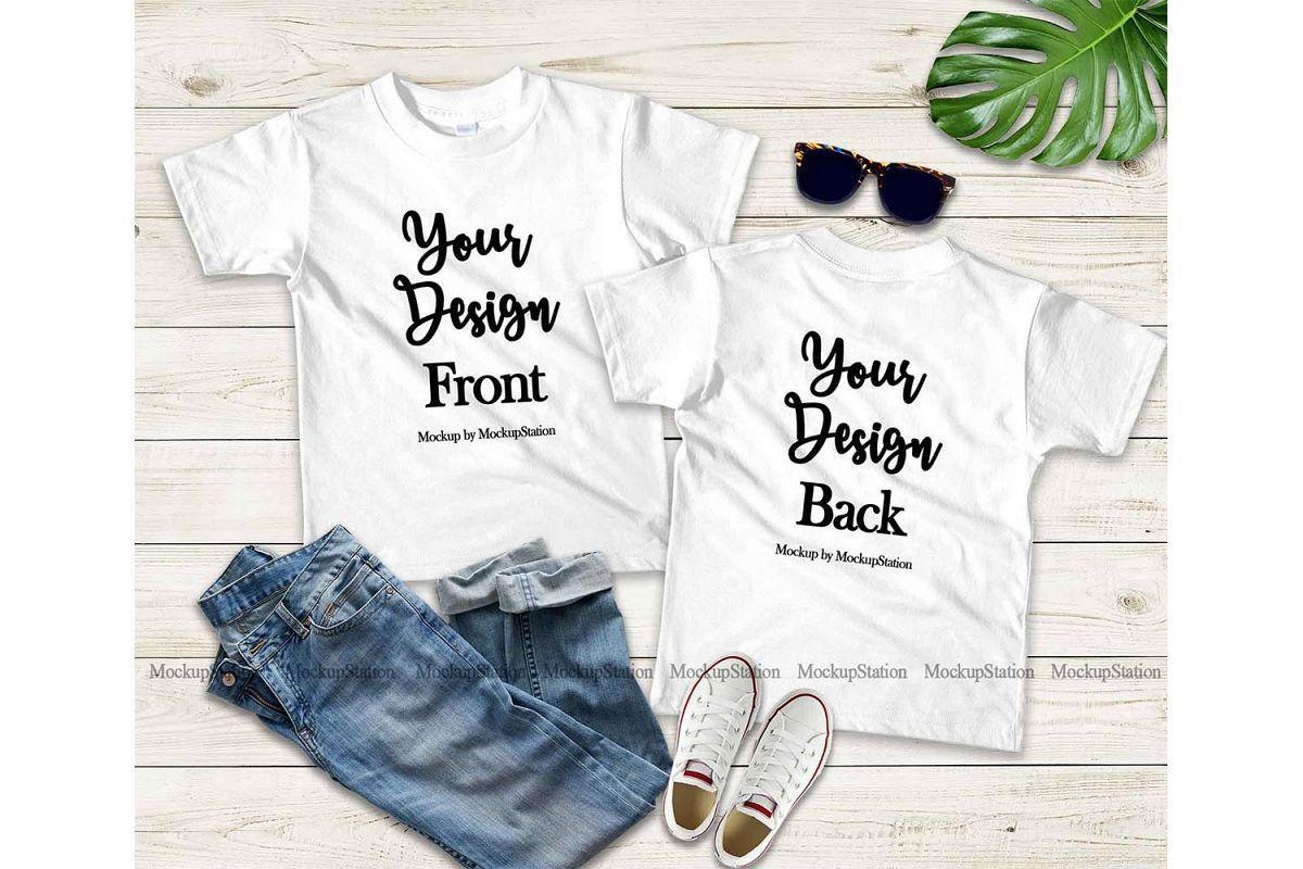 Kids Front Back White Tshirt Mockup Teen Shirt Mock Up