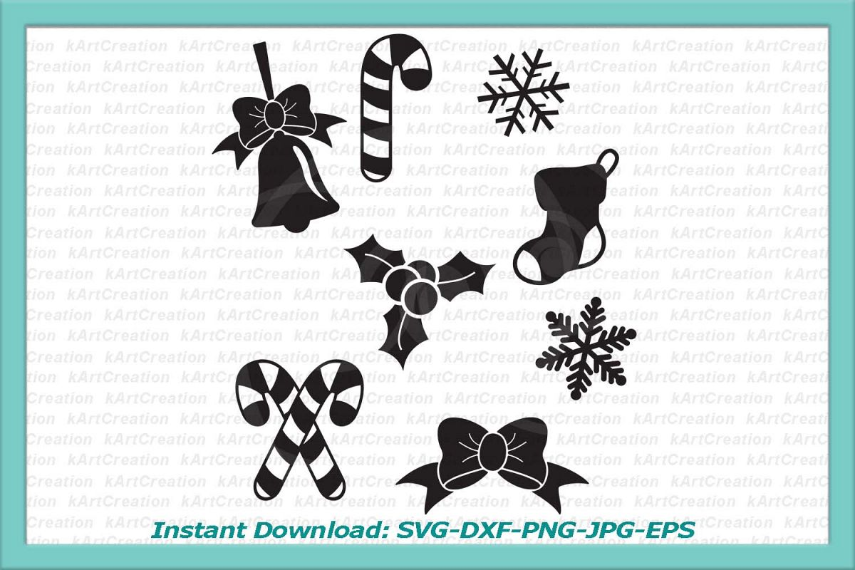 Christmas bundle holly berry snowflakes sock bow bell svg example image 1