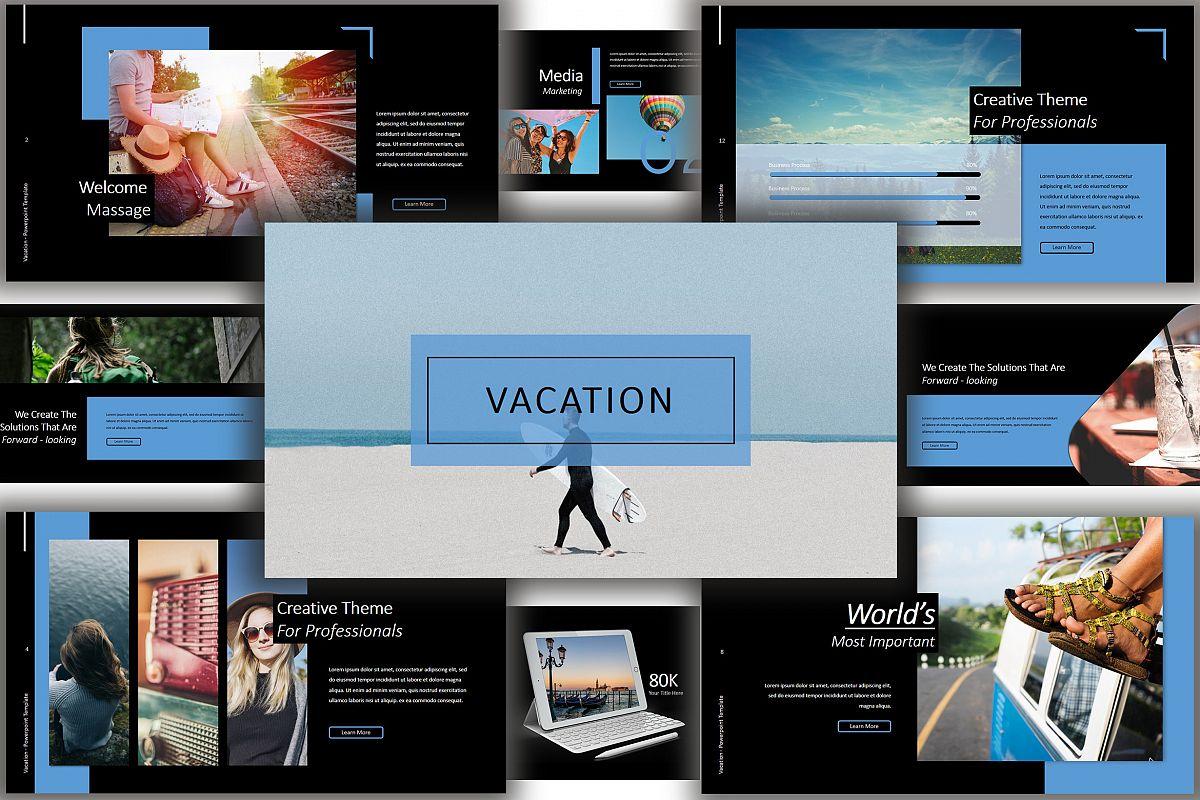 Vacation Lookbook Dark Powerpoint Template example image 1