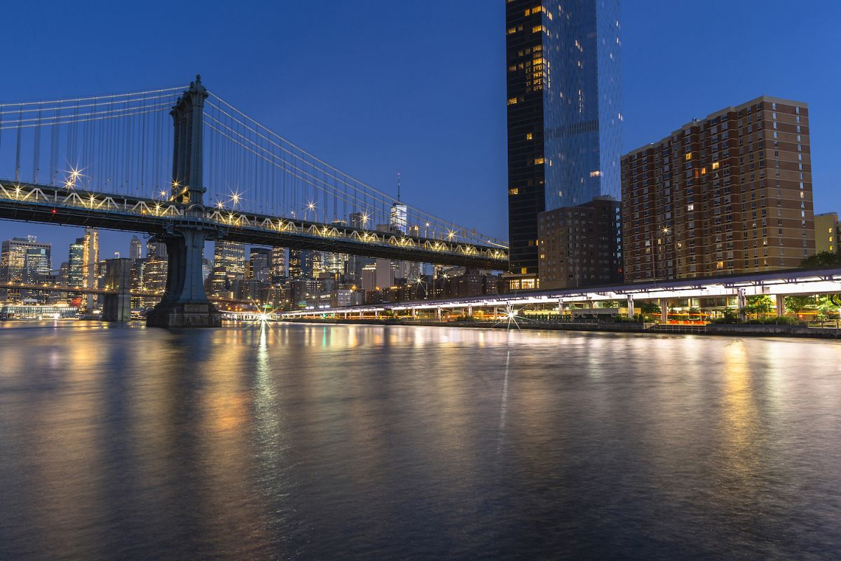 Financial District with two bridge from east river example image 1
