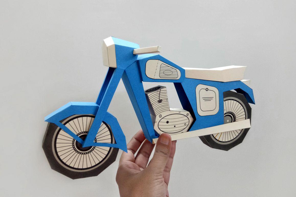 DIY Vintage bike - 3d papercraft example image 1