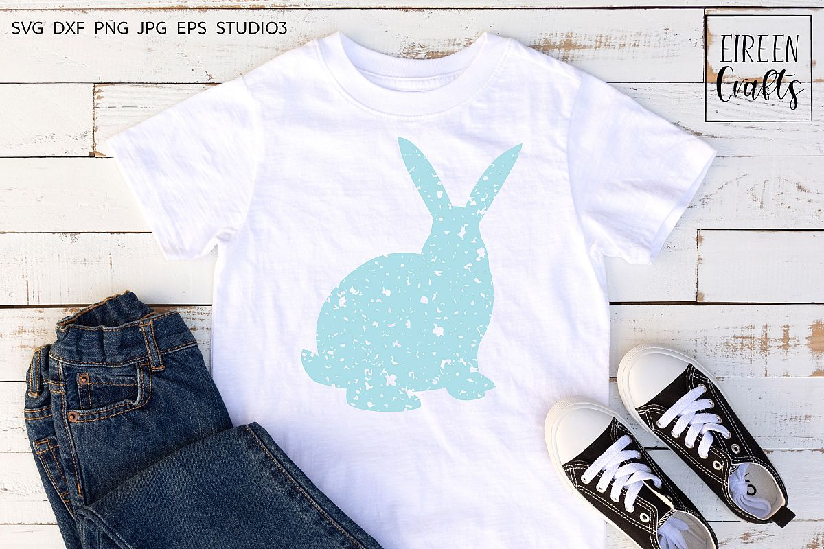 Grunge Bunny SVG - cut file for Cricut & Silhouette example image 1