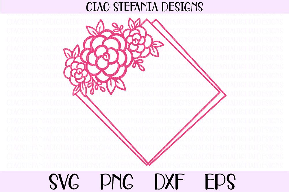 Flower Geometric Diamond Frame Wedding SVG PNG DXF EPS Cut example image 1