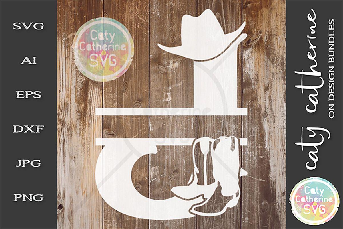 Letter J Cowboy Monogram SVG Includes Cowboy Boots example image 1