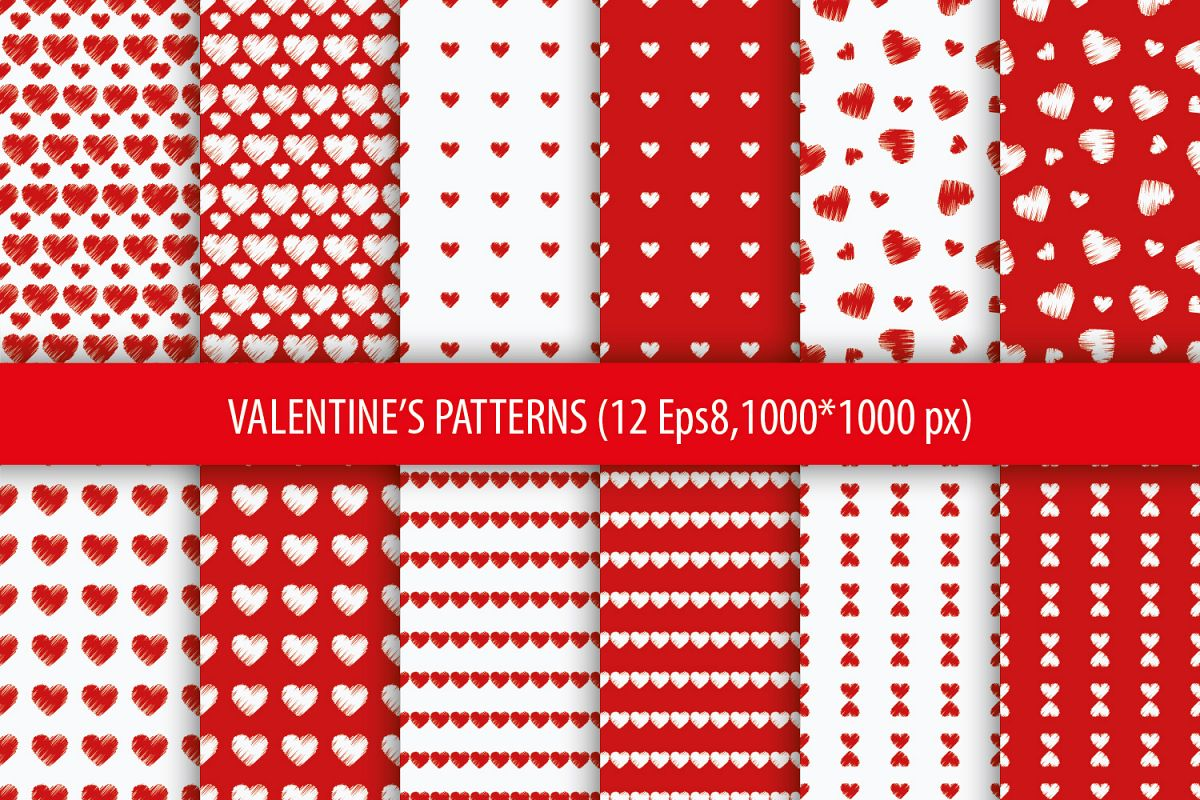 Set of 12 backgrounds with Hearts on Valentine's Day.  example image 1