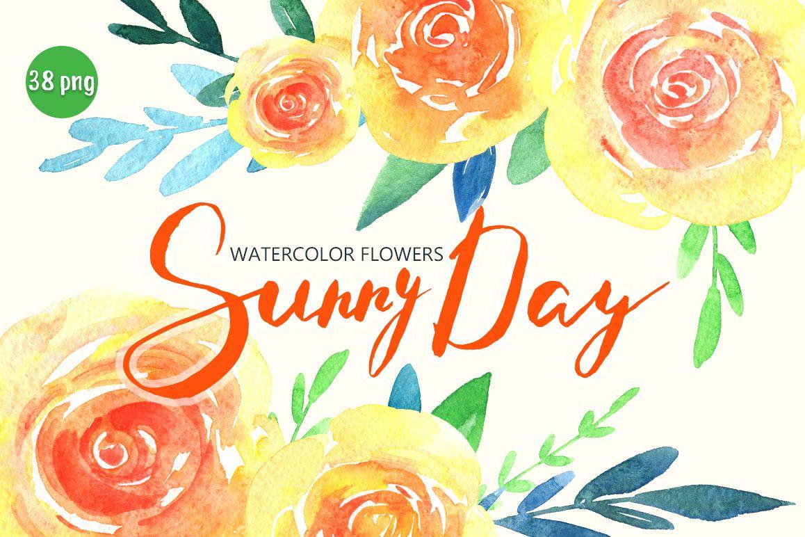 Watercolor yellow & orange flowers example image 1