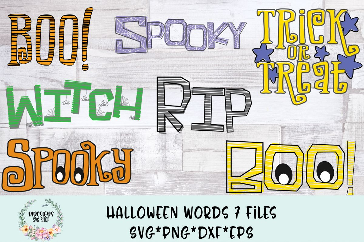 halloween words bundle of 7 svg cut files example image
