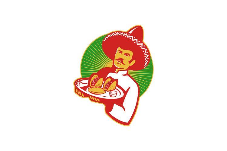 mexican chef serving taco burrito empanada retro example image 1