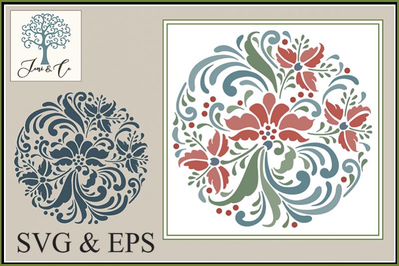 Scandinavian Folk Art Flowers, Rosemaling 2 example image 1