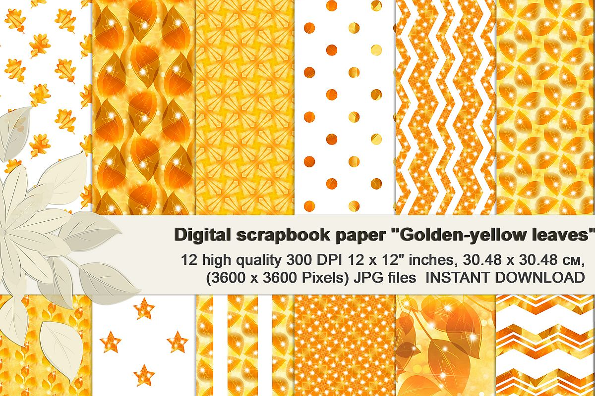 Golden-Yellow leaves, Autumn digital paper. example image 1