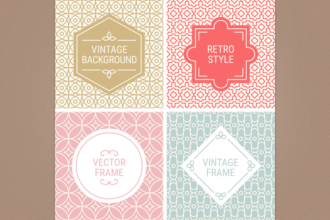 Mono Line Frames and Patterns - Set 13 example image 1