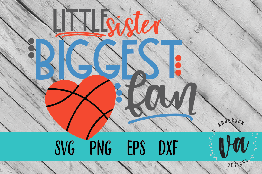 Little Sister Biggest Fan Basketball SVG example image 1