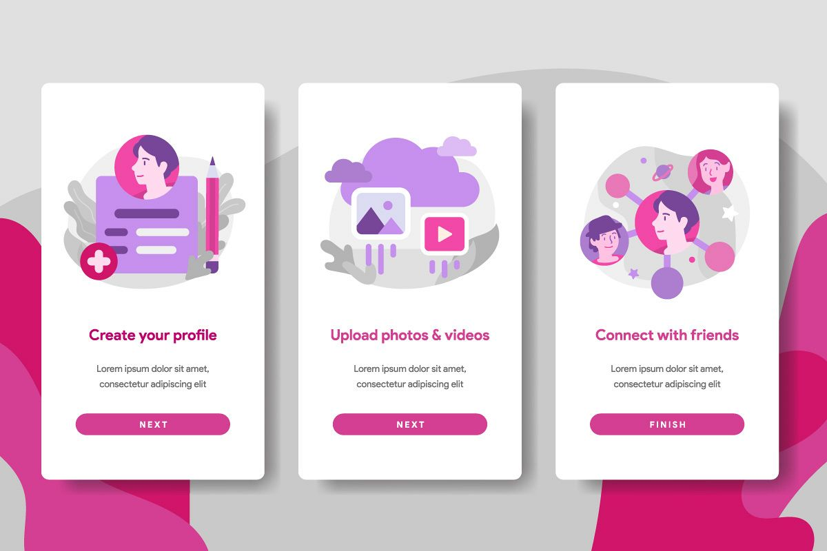 Onboarding screen page template of Social Media example image 1