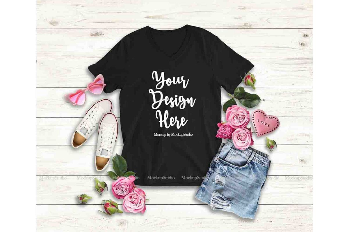 08fee4c7a4b969 Valentine's Day Women T-Shirt Mock Up, Bella Canvas V-Neck example image